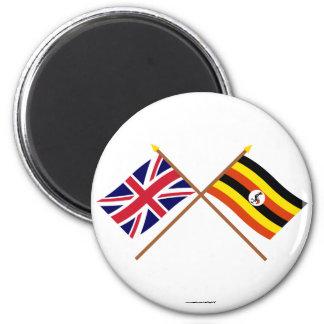 UK and Uganda Crossed Flags 6 Cm Round Magnet