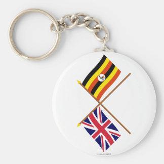 UK and Uganda Crossed Flags Basic Round Button Key Ring