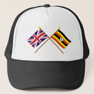 UK and Uganda Crossed Flags Trucker Hat