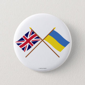 UK and Ukraine Crossed Flags 6 Cm Round Badge