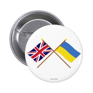 UK and Ukraine Crossed Flags 6 Cm Round Badge