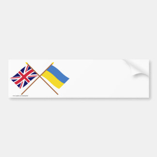 UK and Ukraine Crossed Flags Bumper Sticker
