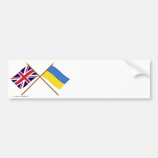 UK and Ukraine Crossed Flags Bumper Stickers