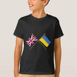 UK and Ukraine Crossed Flags T-Shirt