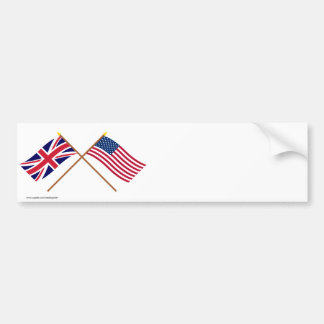 UK and United States Crossed Flags Bumper Sticker