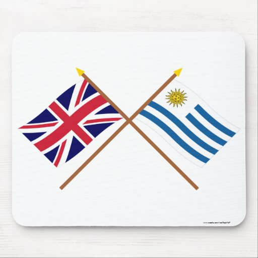 UK and Uruguay Crossed Flags Mouse Pads
