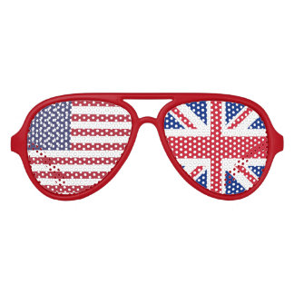 UK And USA Duo Flag Aviator Sunglasses