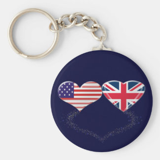 UK and USA Hearts Flag and Ticker tape Basic Round Button Key Ring
