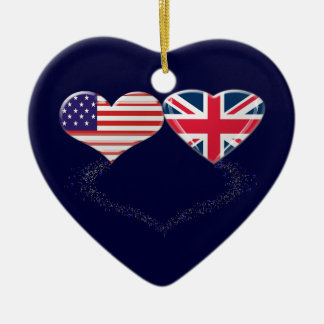 UK and USA Hearts Flag and Ticker tape Christmas Ornament