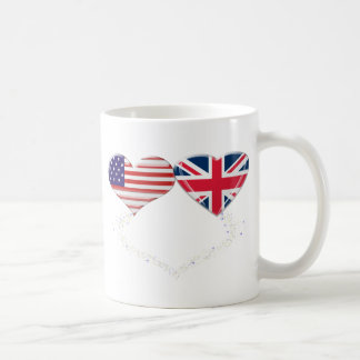 UK and USA Hearts Flag and Ticker tape Coffee Mug