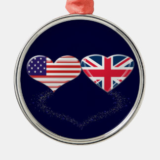 UK and USA Hearts Flag and Ticker tape Silver-Colored Round Decoration