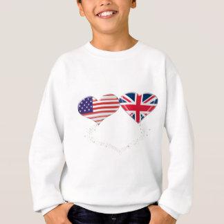 UK and USA Hearts Flag and Ticker tape Sweatshirt