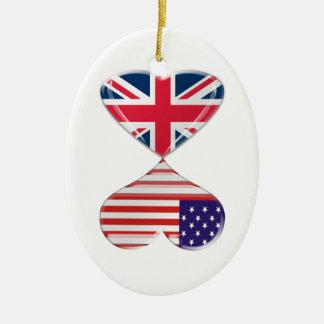 UK and USA Hearts Flag Art Christmas Ornament