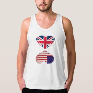 UK and USA Hearts Flag Art Tank Top