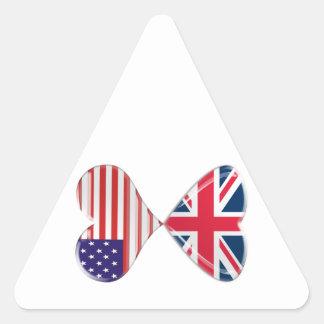 UK and USA Hearts Flag Art Triangle Sticker
