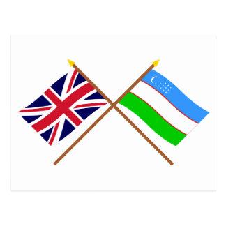 UK and Uzbekistan Crossed Flags Post Card