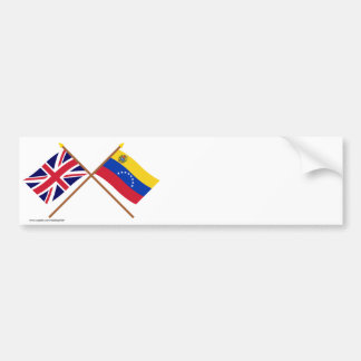 UK and Venezuela Crossed Flags Bumper Sticker