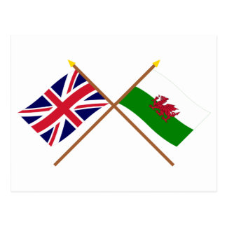 UK and Wales Crossed Flags Postcard