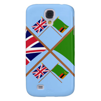 UK and Zambia Crossed Flags Samsung Galaxy S4 Cases