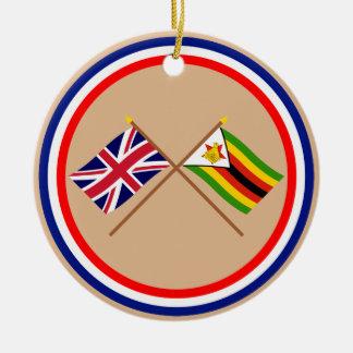 UK and Zimbabwe Crossed Flags Round Ceramic Decoration