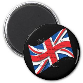 UK Anthem Blk 6 Cm Round Magnet