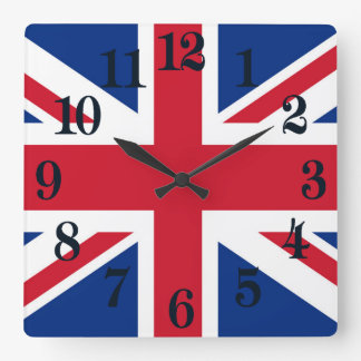 UK Britain Royal Union Jack Flag Square Wall Clock