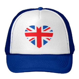 UK British Flag Heart Great Britain Cap