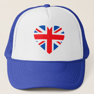 UK British Flag Heart Great Britain Trucker Hat