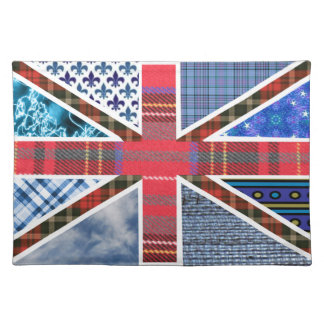 UK British Flag of Tartan and Fabric Patterns Placemat