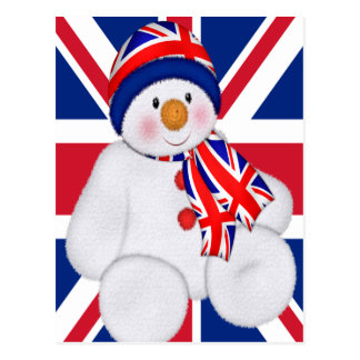 UK Christmas Snowman Postcard