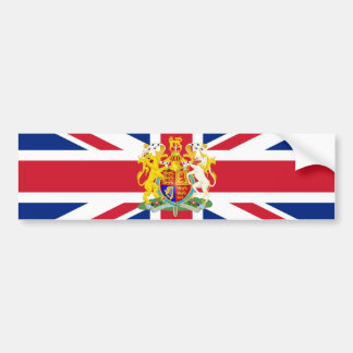 UK Coat of Arms & Flag Bumper Sticker