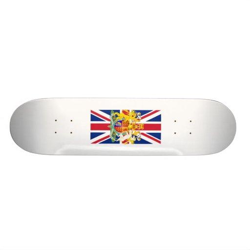UK Coat of Arms & Flag Custom Skateboard