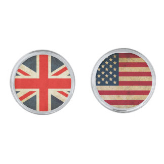 UK Flag and USA Flag Cufflinks Silver Finish Cufflinks
