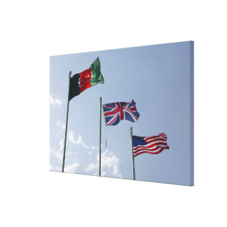 UK Flag between the Afghan and US flags Canvas Print