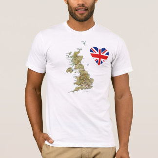 UK Flag Heart and Map T-Shirt