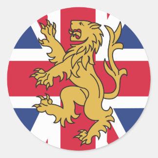 UK Flag Lion Classic Round Sticker