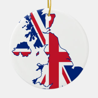 UK Flag Map Christmas Ornament