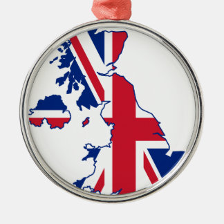 UK Flag Map Silver-Colored Round Decoration