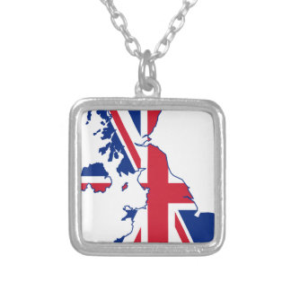UK Flag Map Silver Plated Necklace