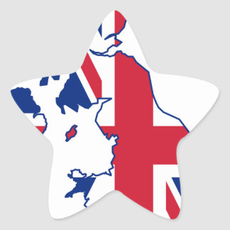 UK Flag Map Star Sticker