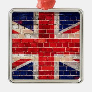 UK flag on a brick wall Christmas Ornament