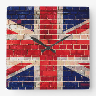 UK flag on a brick wall Square Wall Clock
