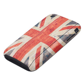 UK Flag on Wood iPhone 3 Tough Cover