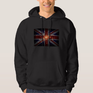 UK Flag over London at Night from Space Hoodie