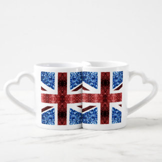 UK flag red and blue sparkles glitters Coffee Mug Set