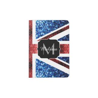 UK flag red and blue sparkles glitters Monogram Passport Holder