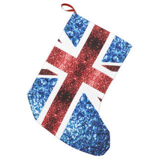 UK flag red and blue sparkles glitters Small Christmas Stocking