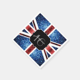UK flag red blue sparkles glitters Sweet 16 Disposable Napkin