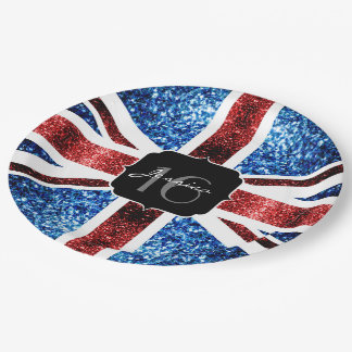 UK flag red blue sparkles glitters Sweet 16 Paper Plate