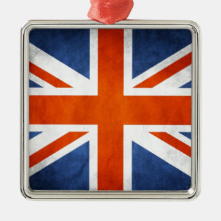 UK Flag Silver-Colored Square Decoration